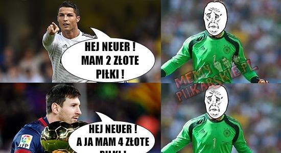 Neuer zgasił Messiego i Ronaldo :p