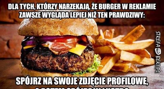 Burger w reklamie a zdjęcie profilowe