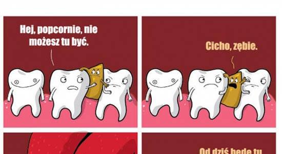Popcorn między zębami