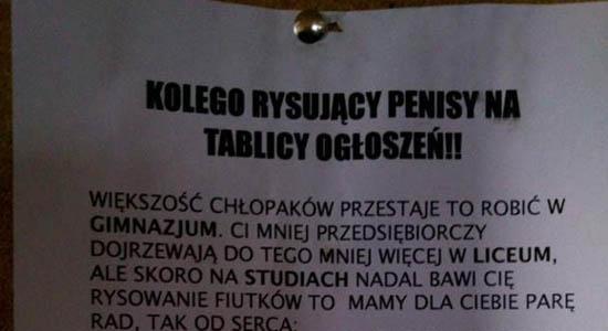 Rady dla kolegi rysującego penisy na tablicy ogłoszeń