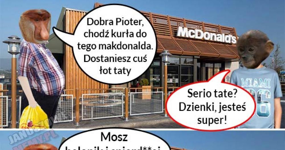 Janusz zabiera Piotera do makdonalda :D